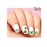 St Patricks Day Skulls, Kiss & Shamrocks Assorted Waterslide Nail Decals
