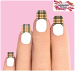 Tan Plaid Tips Waterslide Nail Decals