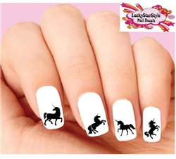 Unicorn Silhouette Assorted Set of 20 Waterslide Nail Decals