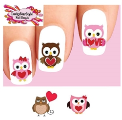 Valentines Day Owls Love & Hearts Assorted Set of 20 Waterslide Nail Decals