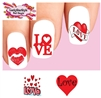 Valentines Love Hearts Kiss Assorted Set of 20 Waterslide Nail Decals