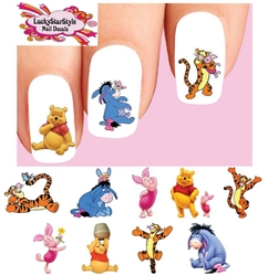 Winnie the Pooh Tigger Piglet Eeyore Assorted Set of 48 Waterslide Nail Decals