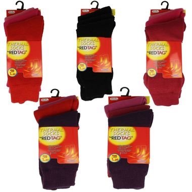 Ladies Reg Tag Thermal Socks 3 Pair Pack