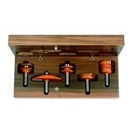 "CMT 800.509.11 Five Piece Complete Kitchen Ogee Raised Panel Router Bit Set With 1/2"" Shank"