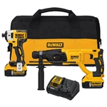 20-Volt MAX XR Lithium-Ion Cordless Impact Driver/Rotary Hammer Combo Kit (2-Tool) with (2) Batteries 5Ah and Charger