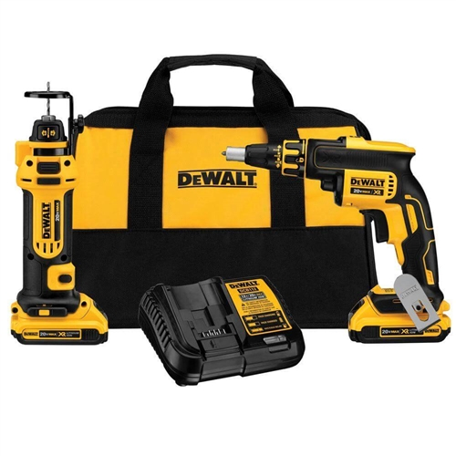 DeWalt DCK263D2 20V MAX Brushless Drywall Screwgun and Cut-Out Tool Combo Kit (2.0 Ah)