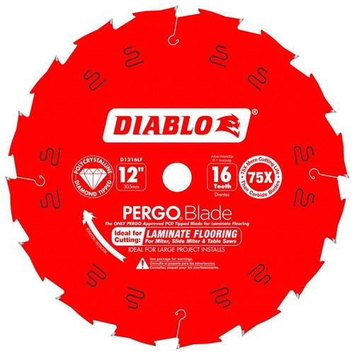 Freud D1216LF PCD Laminate Flooring Blade 12 Inch 16 Carbide Teeth Anti Kick Flooring Blade