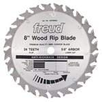 "Freud LM72M008 8 inch X 24 Tooth X 5/8"" Arbor FLAT TOP Saw Blades"