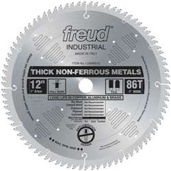 "Freud LU89M012 12 X 86 X 1  TCG 12"" Diameter x 86T TCG Industrial Thick Non-Ferrous Metal Carbide-Tipped Saw Blade with 1"" Arbor (.122 Kerf)"
