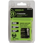 Greenlee XFC-6-10 Weatherproof Compression F-Style Connectors, RG6, 10pk