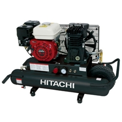 Hitachi EC2510E 5.5 H.P. Gas Powered, 8 Gallon Wheelbarrow Air Compressor w/ Control Panel
