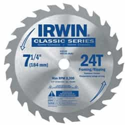 "Irwin 15130 7-1/4"" x 24T x Universal Arbor Circular Saw Blade for Wood-Carded"