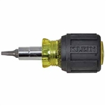 Klein Tools 32562 Stubby Multi-Bit Screwdriver with Square Recess Bit and 1-1/4'' (32 mm) Shaft