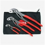Knipex 9K 00 80 122 US Cobra Pliers Tool Set with Keeper Pouch (3 Piece)