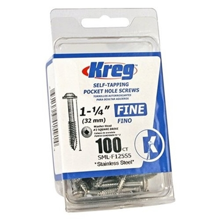 "Kreg 305 Stainless Steel Pocket Screws - 2-1/2"", #10 Fine, Washer-Head, 50ct"