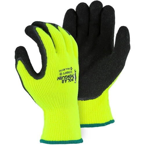 Majestic 3396HY Polar Penguin Winter Lined Napped Terry Gloves with Foam Latex Dipped Palm