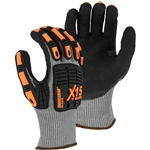 Majestic 35-5575 Knucklehead X-15 Cut Resistant Gloves, HPPE, Black Oil / Waterproof, Double Sandy Nitrile Coating, Impact Resistant, ANSI Cut Level A5