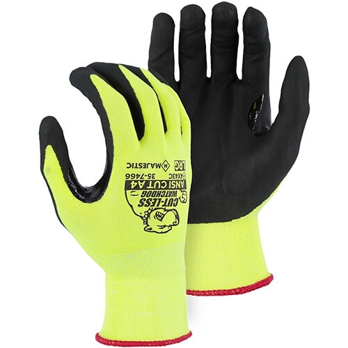 Majestic 35-7466 Hi-Viz Cut-Less Watchdog Gloves with Foam Nitrile Palm Coating ANSI Cut Level A4