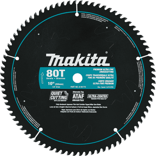 "Makita A-94770 10"" x 5/8"" 80T Ultra-Coated Miter Saw Blade"