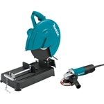 Makita LW1401X2 14 in. Cut-Off Saw and 4-1/2 in. Paddle Switch Angle Grinder