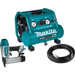 Makita MAC100QK1 Quiet Series 1/2 HP, 1 Gallon Compact, Oil‑Free, Electric Air Compressor, and 18 Gauge Brad Nailer Combo Kit