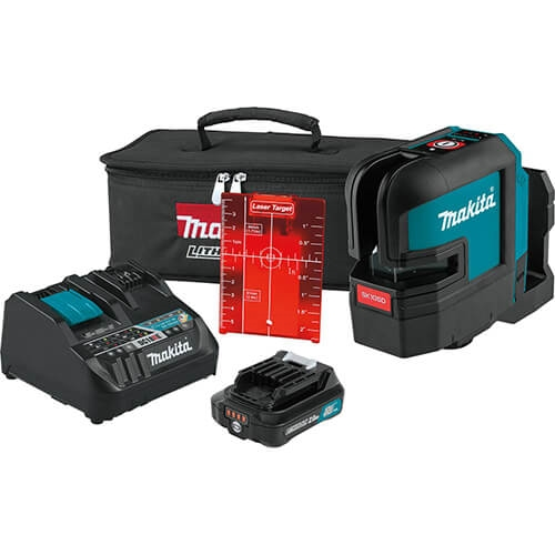 Makita SK105DNAX 12V max CXT Lithium Ion Cordless Self Leveling Cross Line Red Beam Laser Kit (2.0Ah)