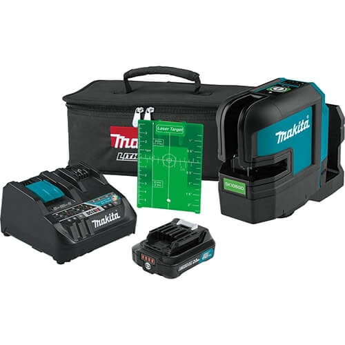 Makita SK105GDNAX 12V MAX CXT Lithium Ion Cordless Self Leveling Cross Line Green Beam Laser Kit 2.0 Ah