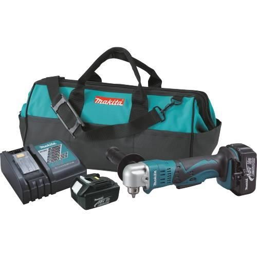 "Makita XAD01 18V LXT Lith-Ion Cordless 3/8"" Angle Drill Kit, var. spd., L.E.D. Light, case"
