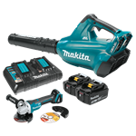Makita XBU02PTX118V X2 (36V) LXT Lithium‑Ion Brushless Cordless Blower Kit (5.0Ah) and Brushless Angle Grinder