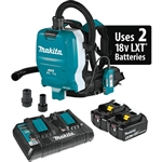 Makita XCV10PTX 18V Lithium Ion Brushless Cordless 1/2 Gallon HEPA Filter Backpack Dry Dust Extractor Kit, AWS Capable 5.0 Ah