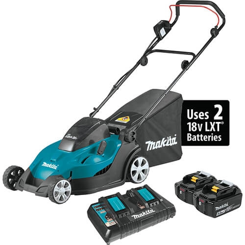 Makita XML02PT 18V Lithium Ion Cordless 17 in. Lawn Mower Kit 5.0 Ah