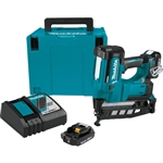 Makita XNB02RJ 18V Cordless 2-1/2 in. Straight Finish Nailer Kit 16 Ga. (2.0Ah)