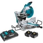 Makita XSL04PTU 18V X2 LXT Lithium-Ion (36V) Brushless Cordless 10 in. Dual-Bevel Sliding Compound Miter Saw Kit, AWS and Laser (5.0Ah)