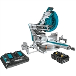 Makita XSL08PT 18V X2 LXT Lithium Ion 36V Brushless Cordless 12 in. Dual Bevel Sliding Compound Miter Saw Kit, AWS Capable and Laser 5.0Ah