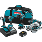 Makita XT446T 18V LXT Lithium Ion Brushless Cordless 4 Pc. Combo Kit (5.0Ah)