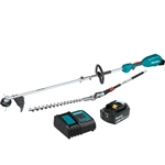 Makita XUX02SM1X2 18V LXT Lithium Ion Brushless Cordless Couple Shaft Power Head Kit w/ 13 in. String Trimmer and 20 in. Hedge Trimmer Attachments (4.0Ah)