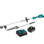 Makita XUX02SM1X4 18V LXT Lithium Ion Brushless Cordless Couple Shaft Power Head Kit With 13 in. String Trimmer and 10 in. Pole Saw Attachments (4.0Ah)