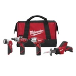 "Milwaukee The 2491-24 M12™ cordless 4-tool combo kit includes the Screwdriver (2401-20), 1/4"" Hex Impact Driver (2450-20), Hackzall™ Recip Saw (2420-20), and Work Light (49-24-0145)"