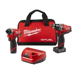 Milwaukee 2598-22 M12 FUEL 2-Tool Combo Kit, 1/2 in. Hammer Drill and 1/4 in. Hex Impact Driver