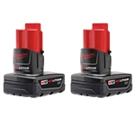 2 Piece M12 XC Battery Pack, Milwaukee 48-11-2412 battery