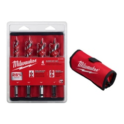 "Milwaukee 48-13-4000 4 Piece Auger Bit Set, Includes 1/2"", 3/4"", 7/8"" and 1"" Auger Bits. Plus roll up carrying case"