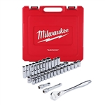 Milwaukee 48-22-9010 1/2 in. Drive 46 pc. Ratchet and Socket Set - SAE and Metric