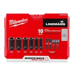 Milwaukee 49-66-5125 Shockwave Lineman's 10 Piece 2 IN 1 12 Point Socket Set