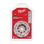 "Milwaukee 4"" Diamond Cup Wheel Double Rim 49-93-7750"