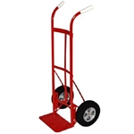 Milwaukee 7093446 Dual Handle Hand Truck with 10 in. Solid Puncture Roof Tiles 800 lb Cap Red
