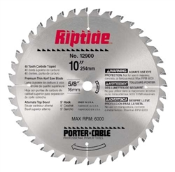 "Porter Cable 12900 Riptide Miter Saw Blade 10"" X 5/8"", 40T"