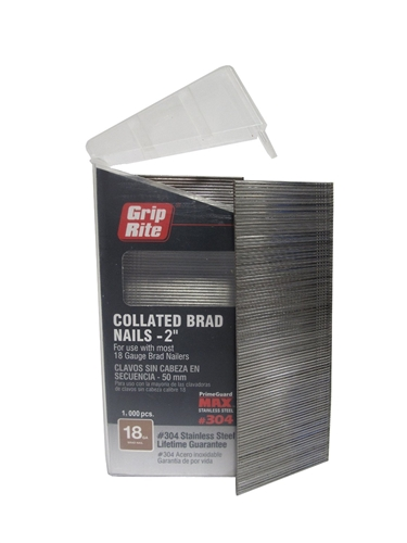 "PrimeSource MAXB64878 Stainless Steel 1 gauge Straight Brad Nails 2"" 304SS - 1,000 pc Belt Clip"