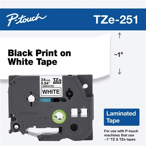 P-Touch TZE-251 Black on White Laminated Tape - 26 ft.