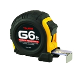 Tajima Hand Tools G-6BW Features Compact, 6 ft. tape measure with a 1/2 inch wide acrylic-coated steel tape