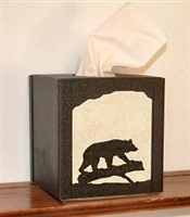 Rustic Tissue Box Cover - Bear Design